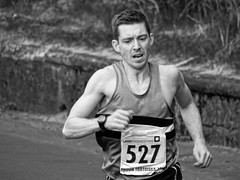 Troon 10k 2013 - approaching the finish - David Henderson 5th (mono) (velton) Tags: k sport fun scotland south run 10k tortoises km troon ayrshire 527 2013 scottish10