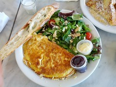 prosciutto and ricotta omelette (shinnygogo) Tags: california food breakfast french losangeles salad cafe plate pch foodporn butter baguette eggs ricotta eats southbay mothersday omelette proscuitto torrance flickrandroidapp:filter=none