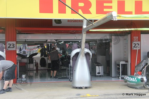 Nico Rosberg's pit garage at the 2013 Spanish Grand Prix