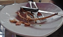 The Aftermath of Eating Lamb Lollipops at Cafe Trio (ricko) Tags: food utensils plate kansascity bones lamb lollipops cafetrio mdpd2013 mdpd1305