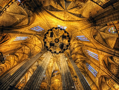 the Gothic Cathedral in Barcelona, fisheye
