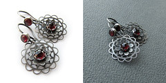Garnet flowers (ggagatka) Tags: silver handmade jewellery earrings artymyczki ammade