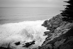 Gray Whale Cove (hjl) Tags: ocean california longexposure sea blackandwhite beach water fog waves cloudy overcast cliffs pacificocean montara pacifica nd110