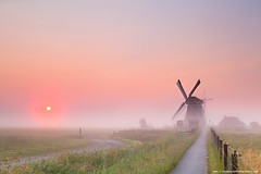 windmill and rising sun in fog (Olha Rohulya) Tags: road morning pink sunset sky orange sun sunlight mist holland building green nature netherlands windmill dutch grass sunshine bike bicycle silhouette misty fog rural sunrise fence way landscape outside outdoors countryside early scenery silent shine view sundown scenic meadow nobody nopeople calm farmland silence destination groningen tranquil