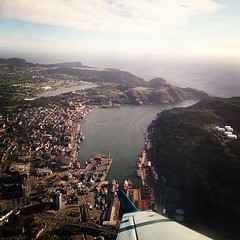 Approach over St. John's. (tom cochrane) Tags: square lofi stjohns squareformat yyt beech1900d iphoneography instagramapp uploaded:by=instagram