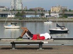 Shut the world out (Ruth and Dave) Tags: sleeping sea man vancouver bench boats towel seawall covered falsecreek resting asleep hiding lying runner msh0913 msh091320