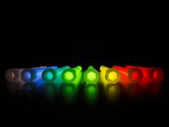 Colorful neon lights (Lukinator) Tags: blue light red orange white color reflection green rot yellow lights twilight sticker colorful raw glow shine purple radiance lila stained gelb rod colored fujifilm grn blau multicolored stab reflexion weiss brightness farbig bunt aufkleber bunter motley stbchen slightly bunte leuchten kunterbunt strahlen scheinen glnzen neonlichter polieren farbenreich radiancy particolored auffallend erstrahlen farbenfreudig lukinator