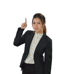 Business woman (ARZTSAMUI) Tags: woman white black female point asian japanese background chinese young business suit thai concept pointing isolated