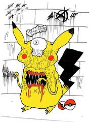 Picachew (VLCERS) Tags: art illustration artwork artist drawing doodle ugly pikachu pokemon illustrator illuminati pokeballs vlcers iheartvlcers mocster