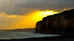 First contact (KerKaya) Tags: blue light seascape yellow clouds sunrise day cloudy first cliffs contact fz200 kerkaya