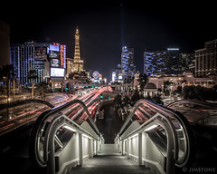 Las Vegas (nomadjim) Tags: longexposure paris cars night stairs lasvegas nevada escalator strip bellagio prettylights streaks luxor ballys newyorknewyork taillights thecosmopolitan jiifii