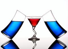 Balance (Karen_Chappell) Tags: blue red stilllife white 3 glass glasses three balance liquid