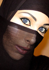 The Veil - 01 (Aozma Qureshi) Tags: woman face scarf happy freedom eyes women peace veil muslim religion makeup mysterious faceless recognition protection annoyed quran mysteriouswoman wayoflife headcovering covering harassed muslimwoman harassment muslimwomen recognise 3359 facecovering versesfromthequran chapter33verse59 preventionofharassment