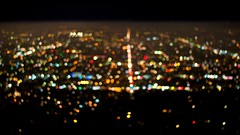 Downtown Los Angeles lights (hectro805) Tags: california city fog lights la losangeles nikon nightscape bokeh foggy griffithobservatory dtla downtownlosangeles