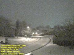 February 16, 2015 - The pre-dawn hours show an overnight snowfall. (ThorntonWeather.com)
