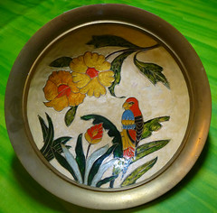 Parrot and flowers (Durley Beachbum) Tags: bowl brass odc