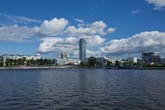 , , 2015 (rewgaz) Tags: city blue sky water skyline clouds river town stream wasser russia himmel wolken blau townscape fluss wolkenkratzer yekaterinburg russland  iset  jekaterinburg