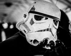 Dirty Trooper (Sean Batten) Tags: england blackandwhite bw london starwars nikon cosplay unitedkingdom 85mm gb stormtrooper comiccon excel d800