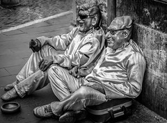 After A Hard Day's Work (mikederrico69) Tags: show street city trip costumes summer vacation people blackandwhite bw italy white black rome roma monochrome europe italia crowd beggar traval entertainers