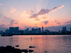 Golden Hours (Ted Tsang) Tags: park travel sunset red sea sky seascape skyline clouds reflections landscape tokyo seaside glow cityscape silhouettes olympus    odaiba magichour  em1   1240mmf28