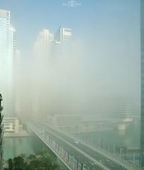 Foggy morning - No. 7 - Dubai Marina, UAE (kadryskory) Tags: city trip morning travel bridge urban water car fog skyline clouds marina buildings outside dubai skyscrapers outdoor uae foggy dubaimarina kadryskory
