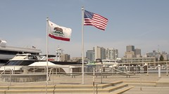 Mariner Square Flags (jeffmgrandy) Tags: plaza skyline marina oakland flags alameda mariner