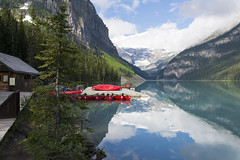 Lake Louise with the Boat House (mark willocks) Tags: lake mountains alberta rockymountains lakelouise banffnationalpark redcanoes