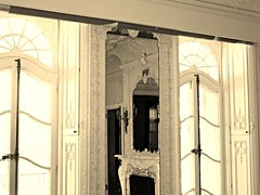 Cylburn Mansion ~ light sepia treatment (karma (Karen)) Tags: windows reflections mirrors maryland baltimore estates mansions historichomes cylburnmansion nrhp