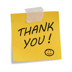 Thank You Note (thefathersdayquotes) Tags: white yellow closeup handwriting paper word message you sticky text note thank whitebackground isolated smileyface adhesivenote