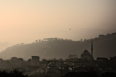 Foggy Cityscape (aesrth) Tags: city trees winter light sunset shadow chimney sky mountain bird nature lines silhouette fog zeiss buildings turkey dark boat flying haze ship space smoke sony horizon foggy istanbul mosque hills pollution carl layers saryer silluette rx100