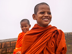 Young Monks at Bokor Hill (BenoitDemers) Tags: angkor asia asian buddha buddhism buddhist cambodia cambodian culture east face faith front happiness harmony kampot khmer kid male man monastery monk orange portrait religion religious robes temple tradition traditional travel wat young cambodge