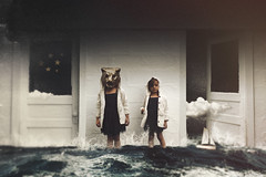 Synonymous Neighbor (ordinaryfox.com) Tags: ocean light abstract water girl childhood night clouds manipulated dark stars doors child open mask surrealism young surreal manipulation conceptual surrealistic quirky