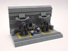 Scheduled Maintenance (cmaddison) Tags: toy robot lego space micro scifi nano vignette mecha bot mech forklift exo hardsuit nanoscale microscale