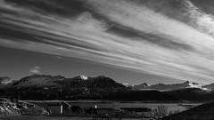 it's going to be a bright sunshiny day (lunaryuna) Tags: morning sky bw seascape mountains monochrome weather clouds season landscape blackwhite iceland spring harbour fjord lunaryuna cloudscape eastfjords easticeland seasonalchange lightmood