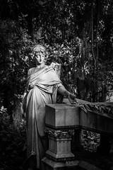 Bonaventure Angel (Mike Schaffner) Tags: blackandwhite bw monument monochrome cemetery grave graveyard statue angel georgia us blackwhite memorial cross unitedstates tombstone palm gravestone savannah bonaventure burialground taphophilia