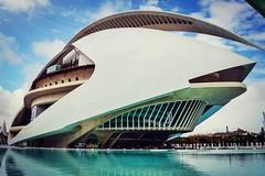 Ciudad de las artes y las ciencias (eleonoralbasi) Tags: espaa building water valencia architecture modern spain outdoor ciudaddellasartesylasciencias