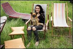 """""""Walking"""" the dog (www.nielsdejgaard.dk) Tags: kvinde hund woman dog vejby sunbeds liggestol"""