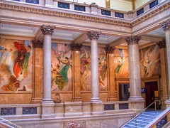 Pittsburgh Pennsylvania ~ Carnegie Museums Of Pittsburgh  Mezzanine  ~  Historic (Onasill ~ Bill Badzo) Tags: old travel original white building art history classic film museum architecture john oakland us artist gallery pittsburgh natural outdoor district labor murals statues style grand landmark tourist historic pa galleries staircase american historical classical register panels alexander artmuseum museums region attraction carnegie crowning nrhp phlf onasill attractionsite