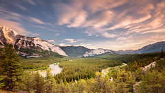 Bow River Valley (pixadeleon) Tags: longexposure trees sunset panorama canada clouds forest banff rockymountains lanscape bowriver hodoo