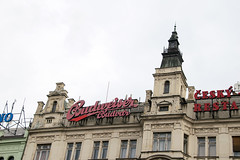 Budweiser sign Wenceslas Square (Paul and Jill) Tags: prague praha wenceslassquare vclavsknmst budweiser