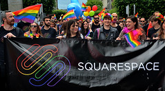 Squarespace (Owen J Fitzpatrick) Tags: ojf people photography nikon fitzpatrick owen j joe street pavement chasing d3100 ireland editorial use only ojfitzpatrick eire dublin republic city face pride parade woman girl pretty beauty beautiful crowd tamron lgbt yellow smile partners roller squarespace banner happy march rainbow flag hold logo spectrum balloons black oconnell thoroughfare jim larkin event dslr digital irish