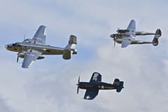 Flying Bulls 1: B-25 Mitchell, Lockheed P-38L Lightning, and Chance Vought F4U-4 Corsair, Flying Legends, 2016 (Peter Cook UK) Tags: show flying air bulls airshow legends duxford corsair chance lightning mitchell lockheed b25 2016 p38 f4u4 vought p38l