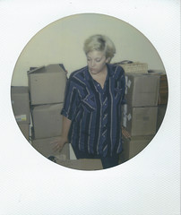 Day 074 (H o l l y.) Tags: impossible project polaroid analog flash self portrait circle frame flannel fashion blonde boxes packing stress retro indie vintage