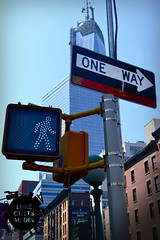 Road Sign (Luke Cutts) Tags: road nyc newyorkcity travel newyork sign america skyscraper walking walk tourist oneway roadsignnewyork
