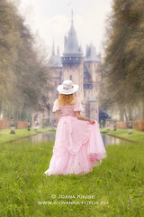 princess and her castle (Ticino-Joana) Tags: park pink summer woman motion green castle nature girl grass hat female fairytale vintage outside outdoors back dance spring dress dancing princess lawn formal meadow skirt swing frombehind romantic swinging gown elegant vernal anonymous noble elegance caucasian garment sunhat springlike aristocracy summery aristocratic nobility fairystory