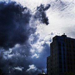 Dramatic clouds over Harlem (juliacreinhart) Tags: square lofi squareformat iphoneography instagramapp uploaded:by=instagram