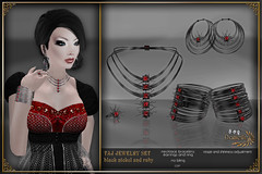 DANIELLE Taj Jewelry Set Black Nickel And Ruby (Dani Plassitz) Tags: fashion modern silver gold necklace gothic ring diamond casual earrings filaments bangles elegance shininess jewelryset stylesbydanielle