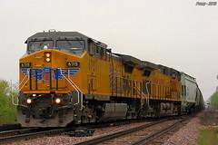 Northbound UP Empty Grain Train at Birmingham, MO (Mo-Pump) Tags: railroad train locomotive railfan railroader