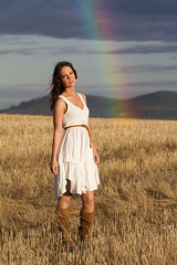 Teshera (austinspace) Tags: sunset portrait woman white field rainbow dress boots dusk farm brunette magichour canola hwy2