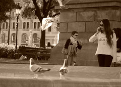 Believe (beckyspeller) Tags: barcelona street people woman nature public fountain birds sepia lady canon outside photography spain space pigeons busy stunning tones